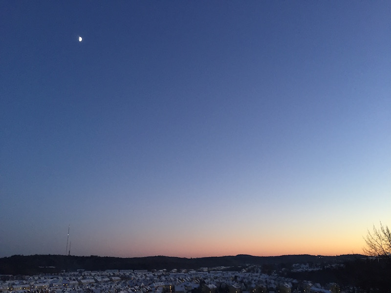 Clear, cold winter skies